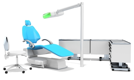 stomatological: 3d modern dental chair, furniture and light on white background
