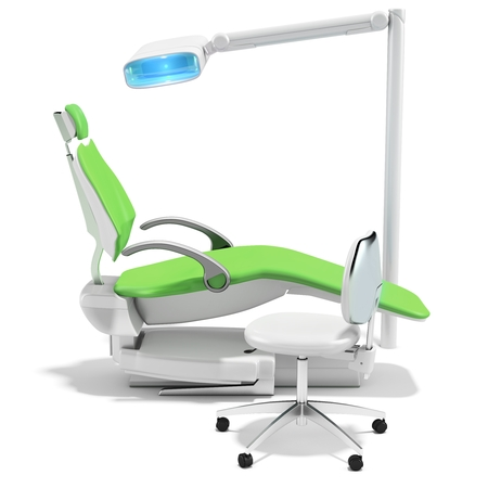 orthodontist: 3d modern dental chair and light on white background