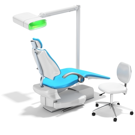 stomatological: 3d modern dental chair and light on white background