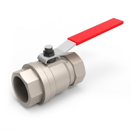 3d red handle ball valve on white background