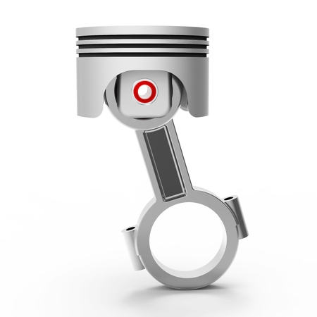 conrod: 3d piston and conrod on white background Stock Photo