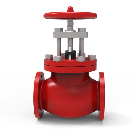 stop gate valve: 3d red water valve on white background