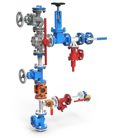 petrochemical plant: 3d stainless steel piping system with valves on white background Stock Photo
