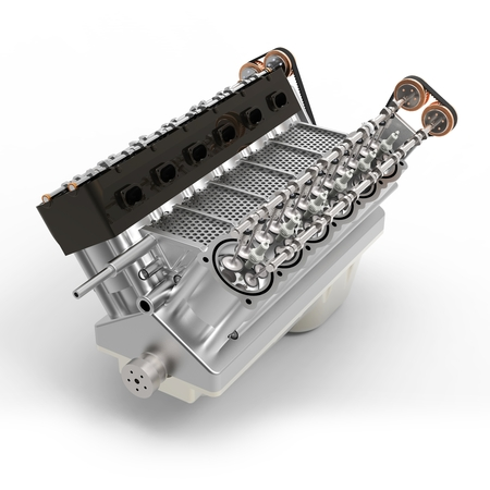 3d generic automotive engine assembly on white background