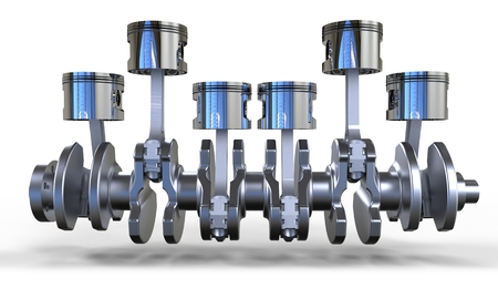 metal parts: 3d pistons and crankshaft, automotive engine on white background