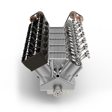 fuel rod: 3d generic automotive engine assembly on white background