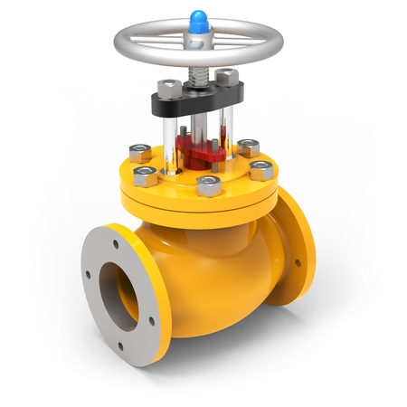 3d yellow gas valve on white background