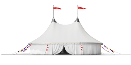 big top tent: 3d circus tent on white background 3D illustration