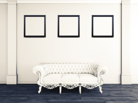 penthouse: White interior design of living room with sofa and picture frames 3D illustration