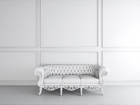 living room sofa: White interior design of living room with sofa 3D illustration