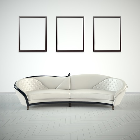 penthouse: minimalist interior design of living room with sofa 3D illustration