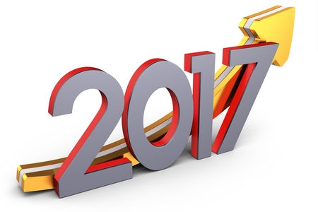 new arrow: happy new year 2017 text with arrow  on white background 3D illustration