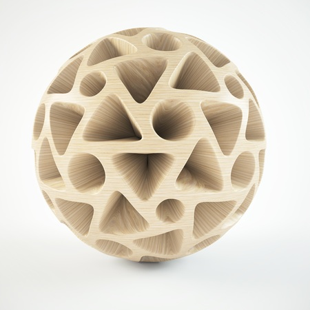wooden circle: decorative wooden sphere Abstract on white background 3D illustration Stock Photo