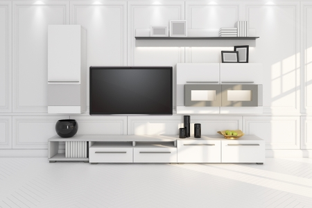 living room with TV, furniture and shelf 3D illustration