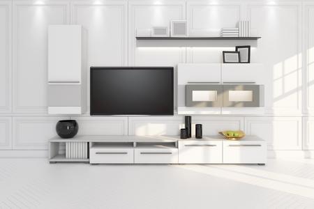 Soggiorno con TV, mobili e scaffale 3D illustrazione