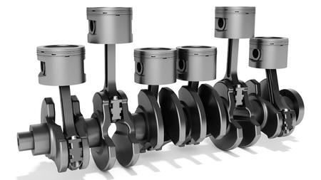 crankshaft: 3d pistons and crankshaft, automotive engine on white background
