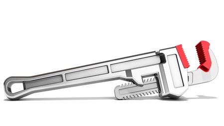 pipes: 3d pipe wrench on white background 3D illustration