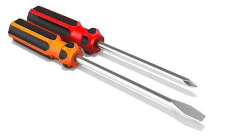 screws: 3d detailed  screwdrivers on white background 3D illustration