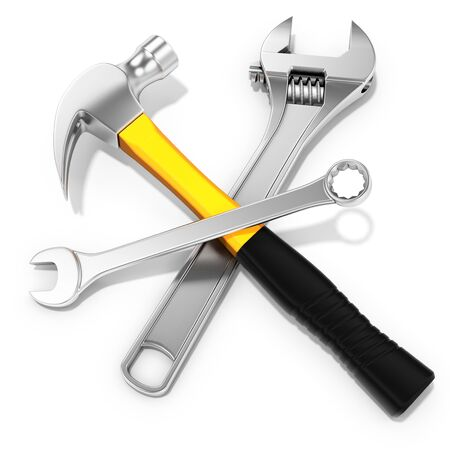 pointy: Steel hammer, spanner and  adjustable spanner  on white background 3D illustration