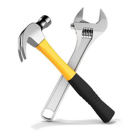 gripping: Steel nail hammer with variable wrench  on white background 3D illustration