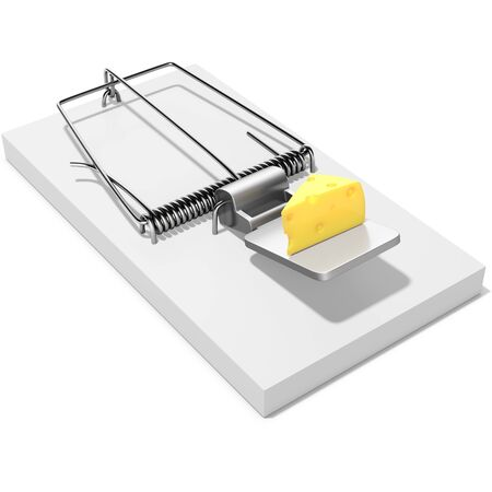 extermination: Mouse trap with a piece of cheese on white background 3D illustration