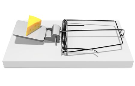 tempt: Mouse trap with a piece of cheese on white background 3D illustration