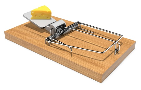 exterminate: Mouse trap with a piece of cheese on white background 3D illustration