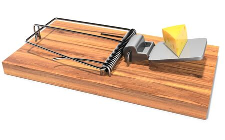 eliminate: Mouse trap with a piece of cheese on white background 3D illustration