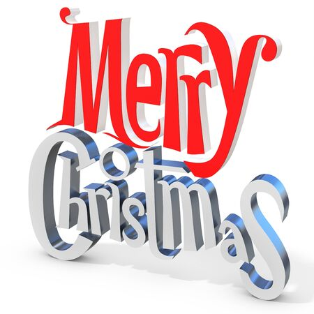 3d Merry Christmas text  on  white background 3D illustration