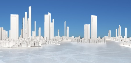 render: 3d generic city with frozen lake and blue sky 3D illustration