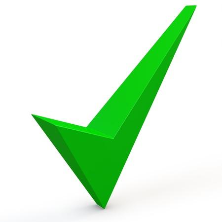 3d green check mark on white background 3D illustration
