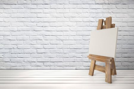 tabletop: 3d blank canvas with small  easel on white table 3D illustration