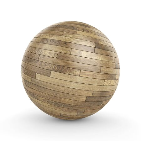 wooden circle: 3d polished wooden parquet sphere on white background 3D illustration Stock Photo