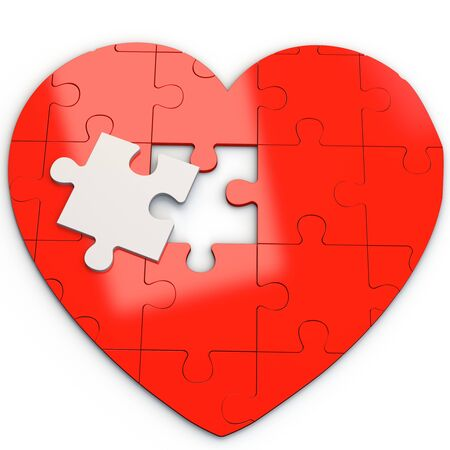 heart puzzle: Red puzzle heart with white piece on white background 3D illustration