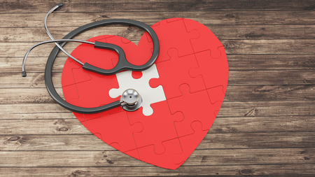 pacemaker: red puzzle heart with stethoscope on wooden background 3D illustration