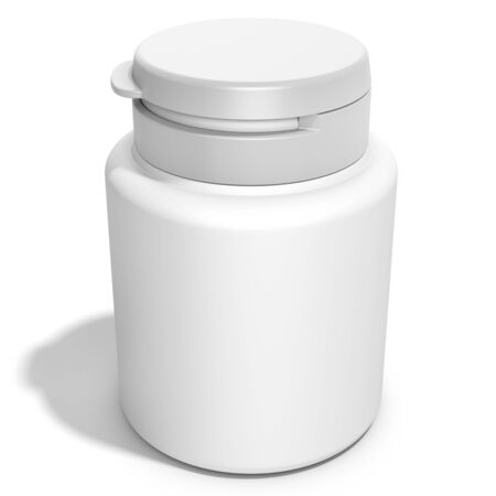 unlabeled: pill box unlabeled for medicine on white background 3D illustration Stock Photo