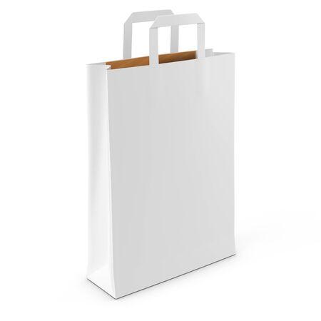shopping bag: blank white shopping bag on white background 3D illustration