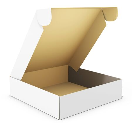 merchandise: blank open merchandise  box on white background 3D illustration