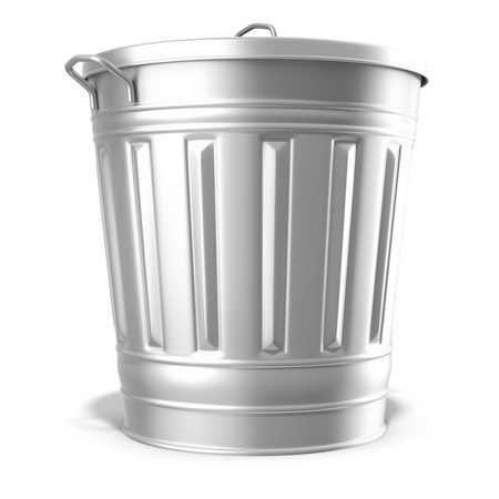 dumping: metallic steel trash can on white background 3D illustration