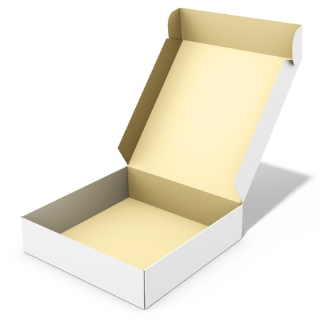 packages: blank open merchandise  box on white background 3D illustration