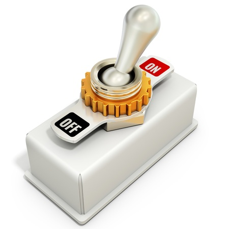 toggle switch: toggle switch, power on off on white background 3D illustration