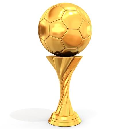 trofeo: trofeo de oro con el balón de fútbol sobre fondo blanco Ilustración 3D