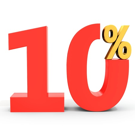 percentage sign: red sale discount 10 percent on white background 3D illustration