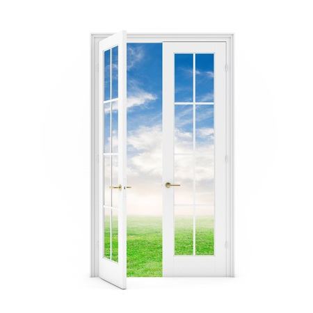 open door to the grass field with sky on white background 3D illustration