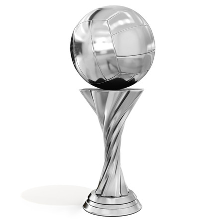 sports winner: silver trophy with volleyball on white background 3D illustration Stock Photo