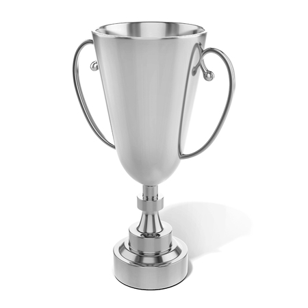 sports winner: champion silver trophy cup on white background 3D illustration Stock Photo
