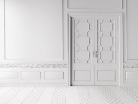 Klassiek Wit Interieur : 3d scène van een witte klassieke muur met deur en lijstwerk royalty