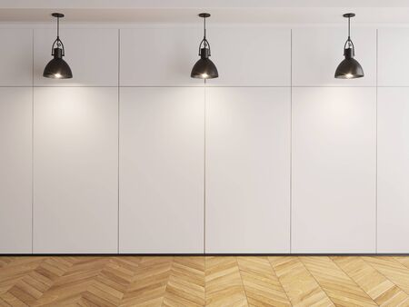 wood room: wall room with hanging lamps and wood floor 3D illustration