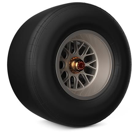 formula one generic racing wheel on white background 3D illustration