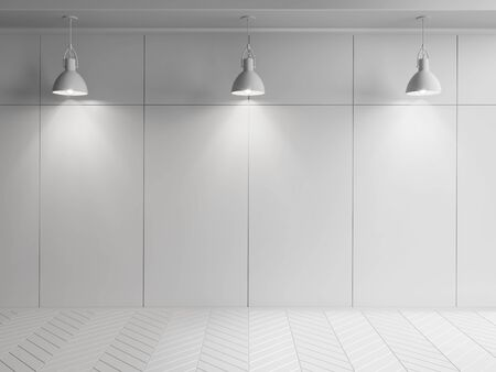 wood room: white wall room with hanging lamps and wood floor 3D illustration Stock Photo